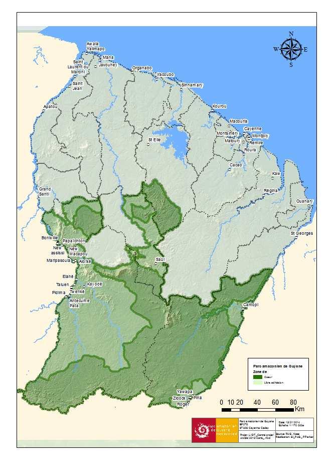 Carte bilan des données du Parc Amazonien de Guyane, 2014
