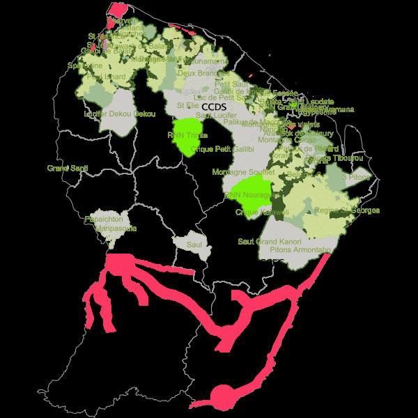 Carte des données forestières de l'Office National des Forêts de Guyane
